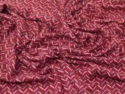 Lines Print Stretch Soft Brushed Jersey Knit Dress Fabric  Dark Red