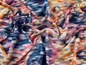 Abstract Watercolour Print Stretch Chiffon Dress Fabric  Multicoloured