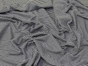 Narrow Stripe Viscose Stretch Jersey Knit Dress Fabric  Black & White
