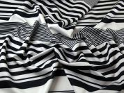 Graduated Stripe Print Scuba Stretch Jersey Dress Fabric  Black & White