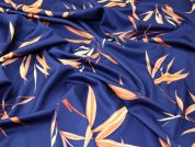 Large Leaf Print Scuba Stretch Jersey Dress Fabric  Navy Blue & Orange