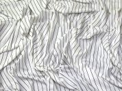 Fine Stripe Viscose Stretch Jersey Knit Dress Fabric  Black & Ivory