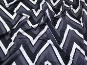 Large Zig Zag Chevron Print Stretch Jersey Knit Dress Fabric  Black, White & Grey