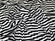 Stripe Print Viscose Stretch Jersey Knit Dress Fabric  Black & White