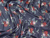 Floral Print Viscose Stretch Jersey Knit Dress Fabric  Multicoloured