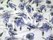 Floral Print Scuba Crepe Stretch Jersey Knit Dress Fabric  Blue & Lilac