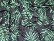 Large Leaf Print Shimmer Stretch Jersey Knit Dress Fabric  Green