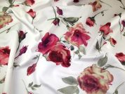 Floral Print Scuba Stretch Jersey Knit Dress Fabric  Pink & Ivory
