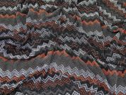 Lurex Glitter Chevron Print Stretch Jersey Dress Fabric  Black Multi