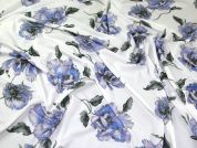 Floral Print Viscose Stretch Jersey Knit Dress Fabric  Blue & Lilac