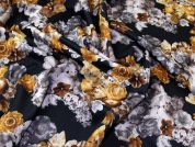 Floral Print Scuba Stretch Jersey Dress Fabric  Black & Bronze