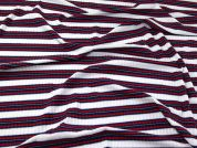 Stripe Cotton Ribbed Stretch Jersey Knit Dress Fabric  Red, White & Blue