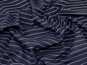 Stripe Ponte Roma Stretch Jersey Knit Dress Fabric  Navy Blue