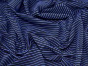 Textured Stripe Stretch Jersey Knit Dress Fabric  Royal & Black