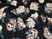 Floral Print Scuba Stretch Jersey Dress Fabric  Black & Teal