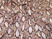 Snakeskin Print Scuba Crepe Stretch Jersey Knit Dress Fabric  Caramel Blush