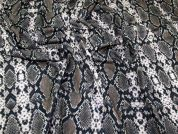 Snakeskin Print Scuba Crepe Stretch Jersey Knit Dress Fabric  Taupe