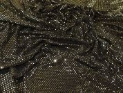 Sparkly Lurex Sequinned Stretch Jersey Knit Dress Fabric  Black & Gold
