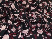Floral Print Scuba Crepe Stretch Jersey Knit Dress Fabric  Black & Pink