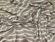 Stripey Stretch Viscose Jersey Knit Dress Fabric  Beige & White
