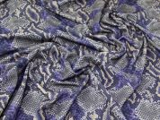 Snakeskin Print Scuba Crepe Stretch Jersey Knit Dress Fabric  Purple