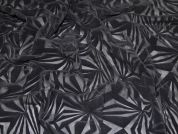 Geometric Flock Print Stretch Mesh Dress Fabric  Black