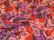 Decorative Print Viscose Stretch Jersey Knit Dress Fabric  Red & Pink