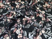 Floral Print Scuba Stretch Jersey Dress Fabric  Black & Peach