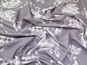 Floral Print Scuba Crepe Stretch Jersey Knit Dress Fabric  Silver Grey