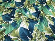 Large Leaf Print Scuba Stretch Jersey Dress Fabric  Green