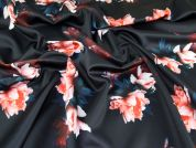 Floral Print Scuba Stretch Jersey Dress Fabric  Black & Red