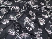 Floral Print Stretch Powernet Mesh Jersey Knit Dress Fabric  Black & Grey