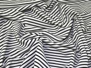 Textured Stripe Stretch Jersey Knit Dress Fabric  Black & White