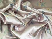 Floral Print Satin Dress Fabric  Pink