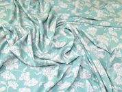 Floral Jacquard Stretch Jersey Knit Dress Fabric  Mint Green