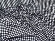 Gingham Check Stretch Jersey Knit Dress Fabric  Black