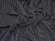 Pinstripe Textured Stretch Jersey Knit Dress Fabric  Black & White