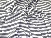 Stripey Bandage Stretch Jersey Knit Dress Fabric  White & Grey
