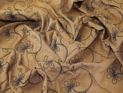 Embroidered Stretch Needlecord Dress Fabric  Tan & Brown