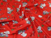 Mouse Family Print Poycotton Dress Fabric  Red