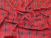 Lurex Plaid Tartan Check Design Stretch Jersey Knit Dress Fabric  Red