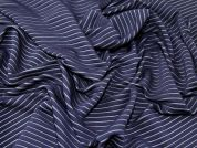 Raised Stripe Stretch Jersey Knit Rib Dress Fabric  Navy Blue