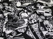 Abstract Print Stretch Jersey Knit Dress Fabric  Black & White