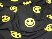 Smiley Face Print Stretch Jersey Knit Dress Fabric  Black & Yellow