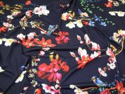 Floral & Birds Print Stretch Jersey Knit Dress Fabric  Multicoloured