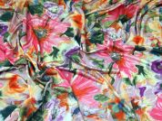 Floral Print Stretch Satin Jersey Knit Dress Fabric  Multicoloured