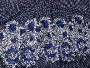 Ribbon Embroidered Border Spotty Chiffon Dress Fabric  Navy Blue