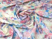 Watercolour Floral Print Polyester Crepe Dress Fabric  Multicoloured