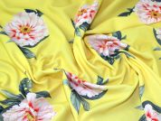 Floral Print Scuba Crepe Stretch Jersey Knit Dress Fabric  Yellow