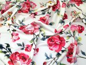 Floral Print Scuba Stretch Jersey Dress Fabric  Pink & Ivory